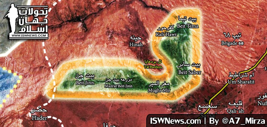 Map Update: Military Situation In Beit Jinn Pocket In Southern Syria