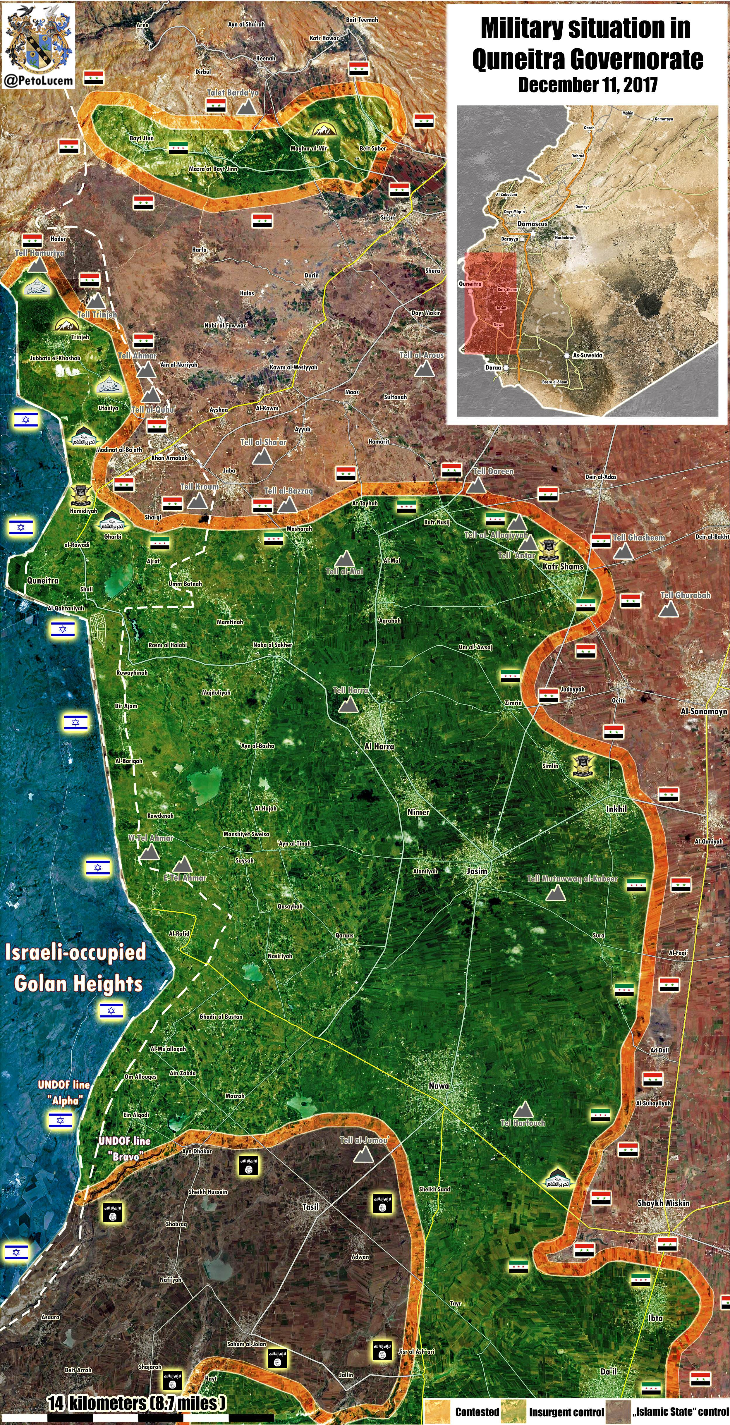 Syria Map Update: Military Situation In Province Of Quneitra