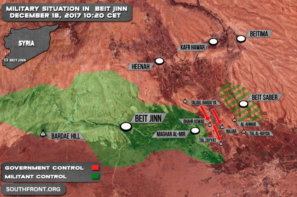 Fighting Is Ongoing In Beit Jinn Pocket As Syrian Army Advances Further On Positions Of Hayat Tahrir al-Sham (Map)
