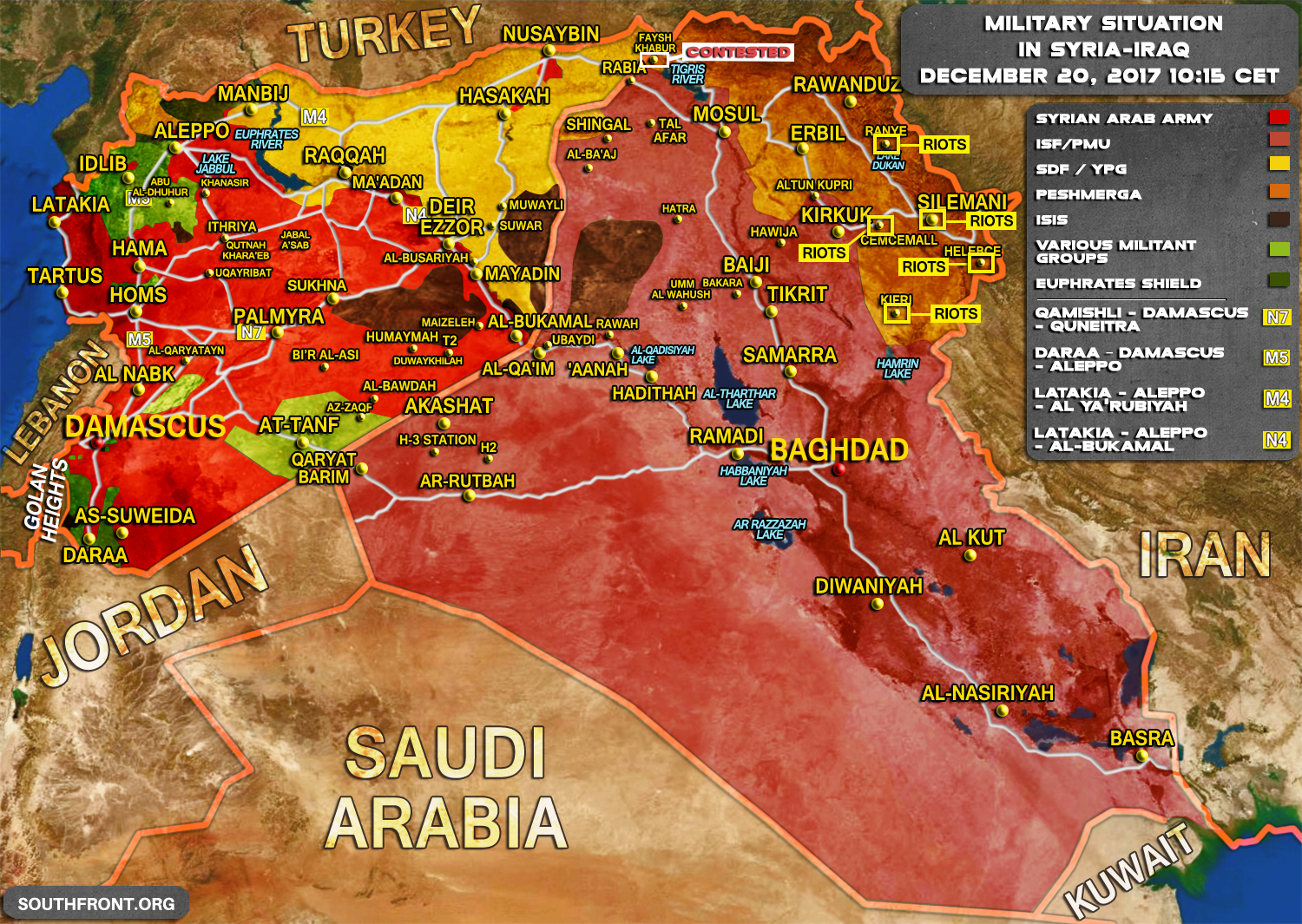 Military Situation In Syria And Iraq On December 20, 2017 ...