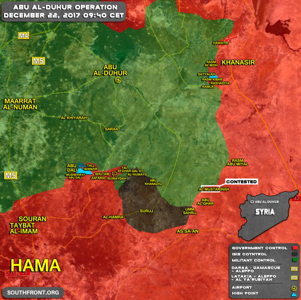 Military Situation In Area Of Abu al-Duhur On December 22, 2017 (Syria Map Update)