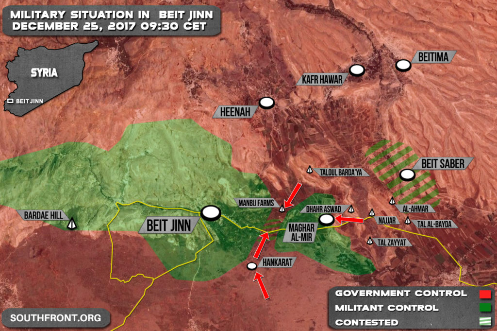 Syrian Army Liberates Manbij Farms, Encircles Militants In Beit Jinn (Map)