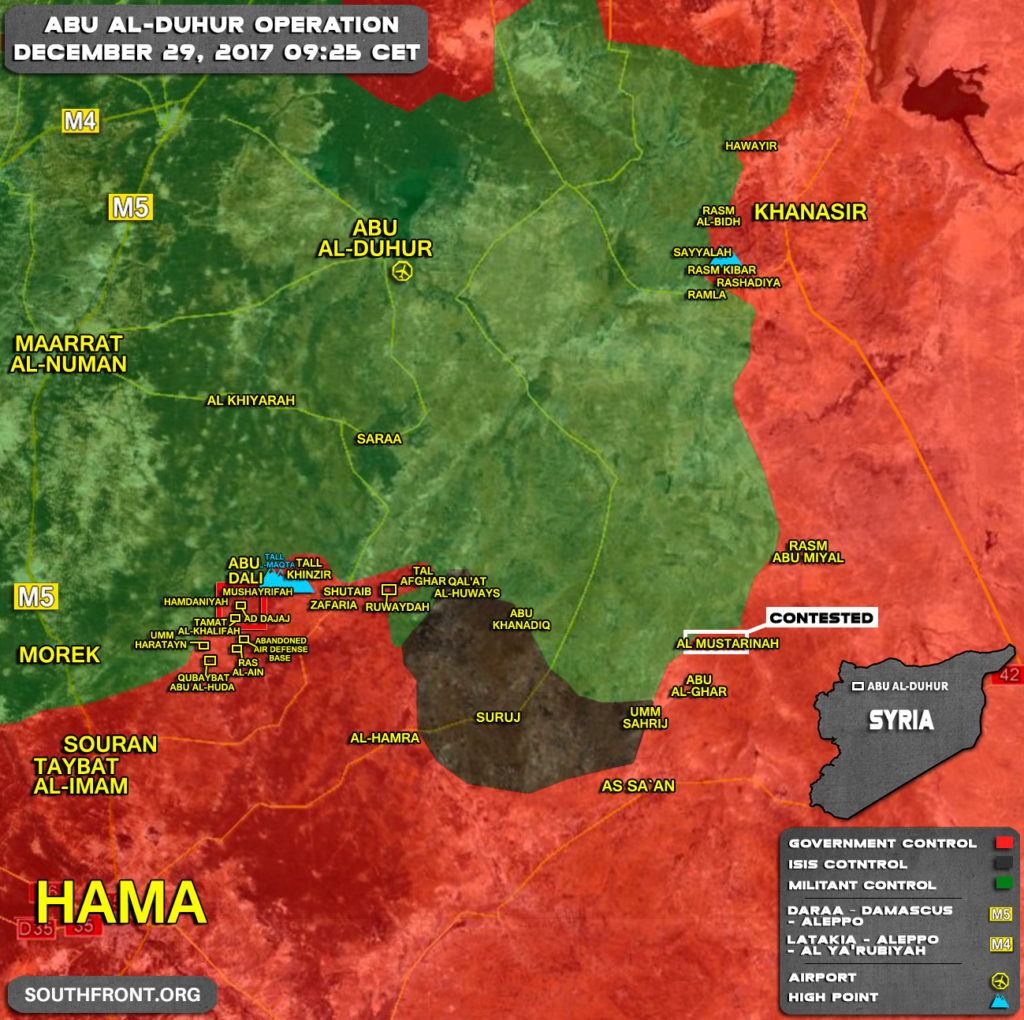 Military Situation In Abu al-Duhur Area On December 29, 2017 (Map Update)