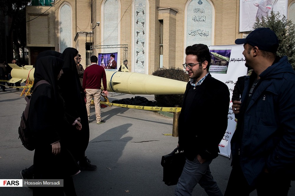 In Photos: Zolfaghar Ballistic Missile Is Showcased In Front Of Amirkabir University of Technology In Teheran