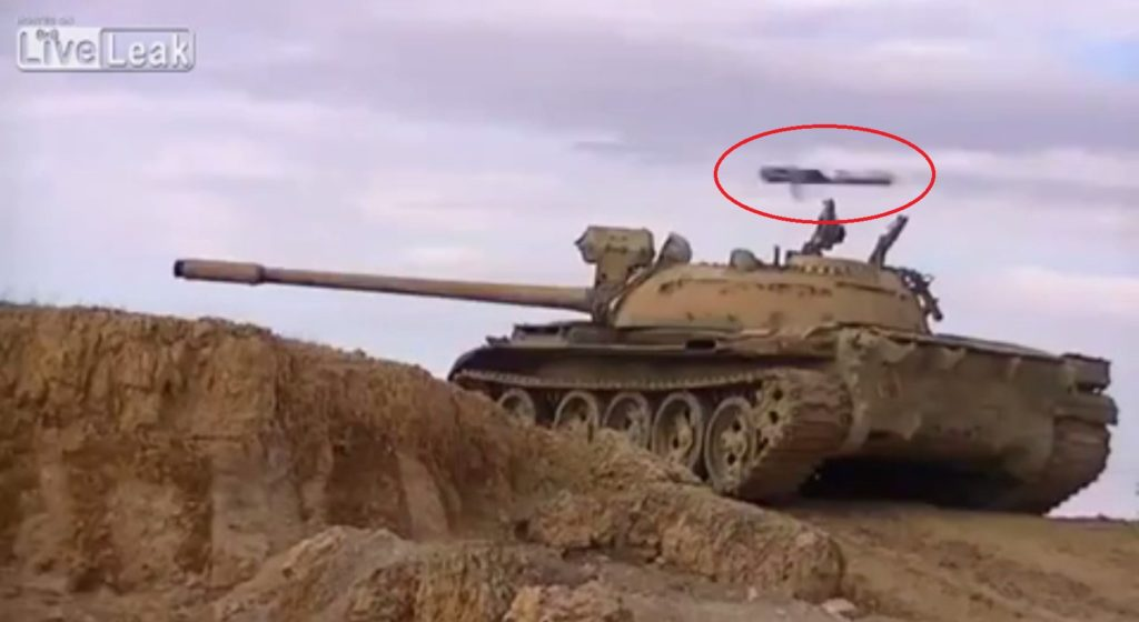 Video: Anti-Tank Missile Passes Just Above Turret Of Syrian Battle Tank