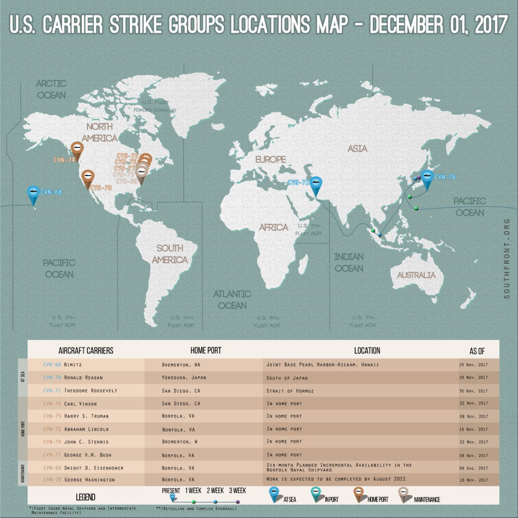 US Carrier Strike Groups Locations Map – December 1, 2017