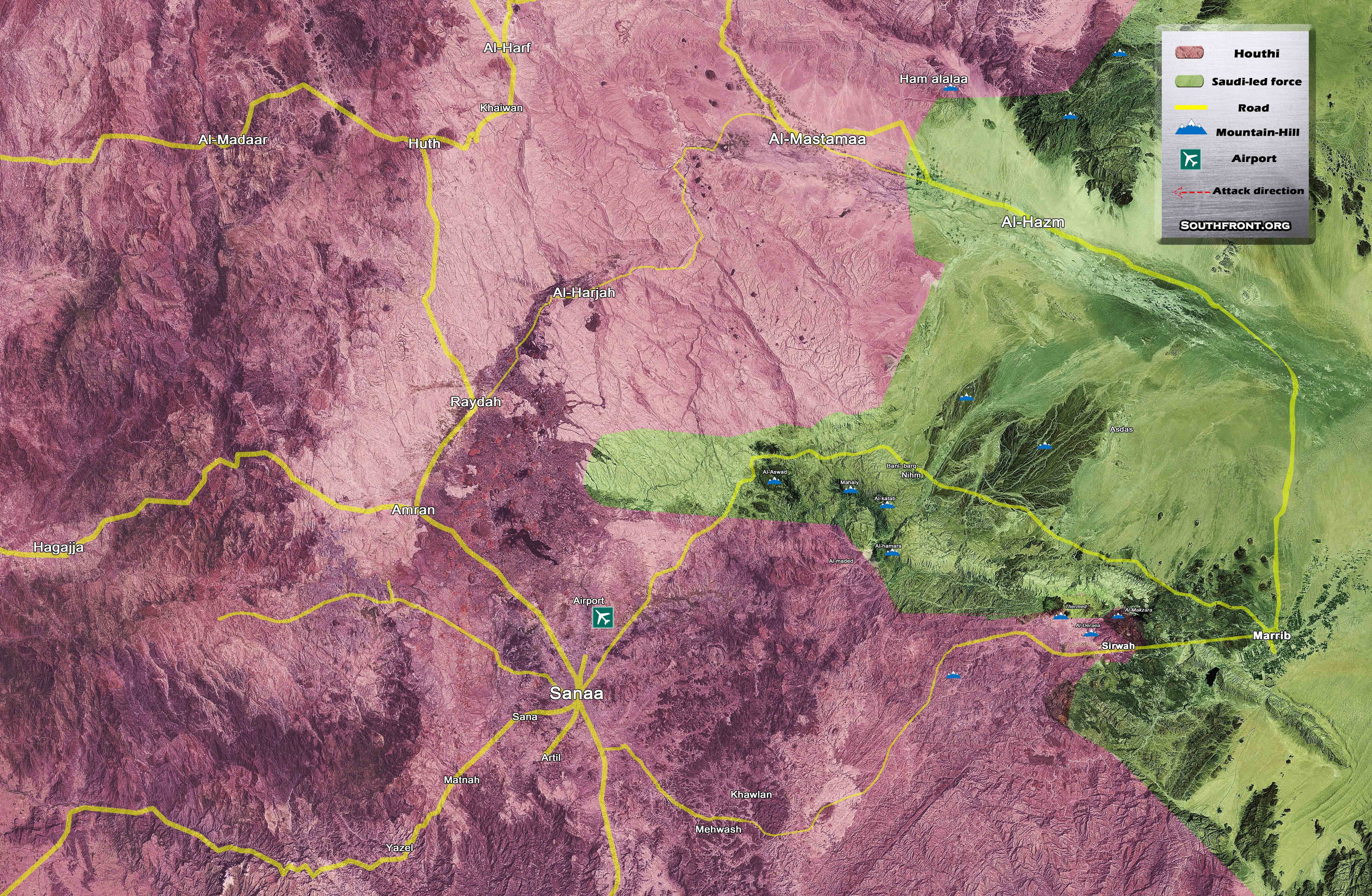 Map Military Situation In Countryside Of Sanaa
