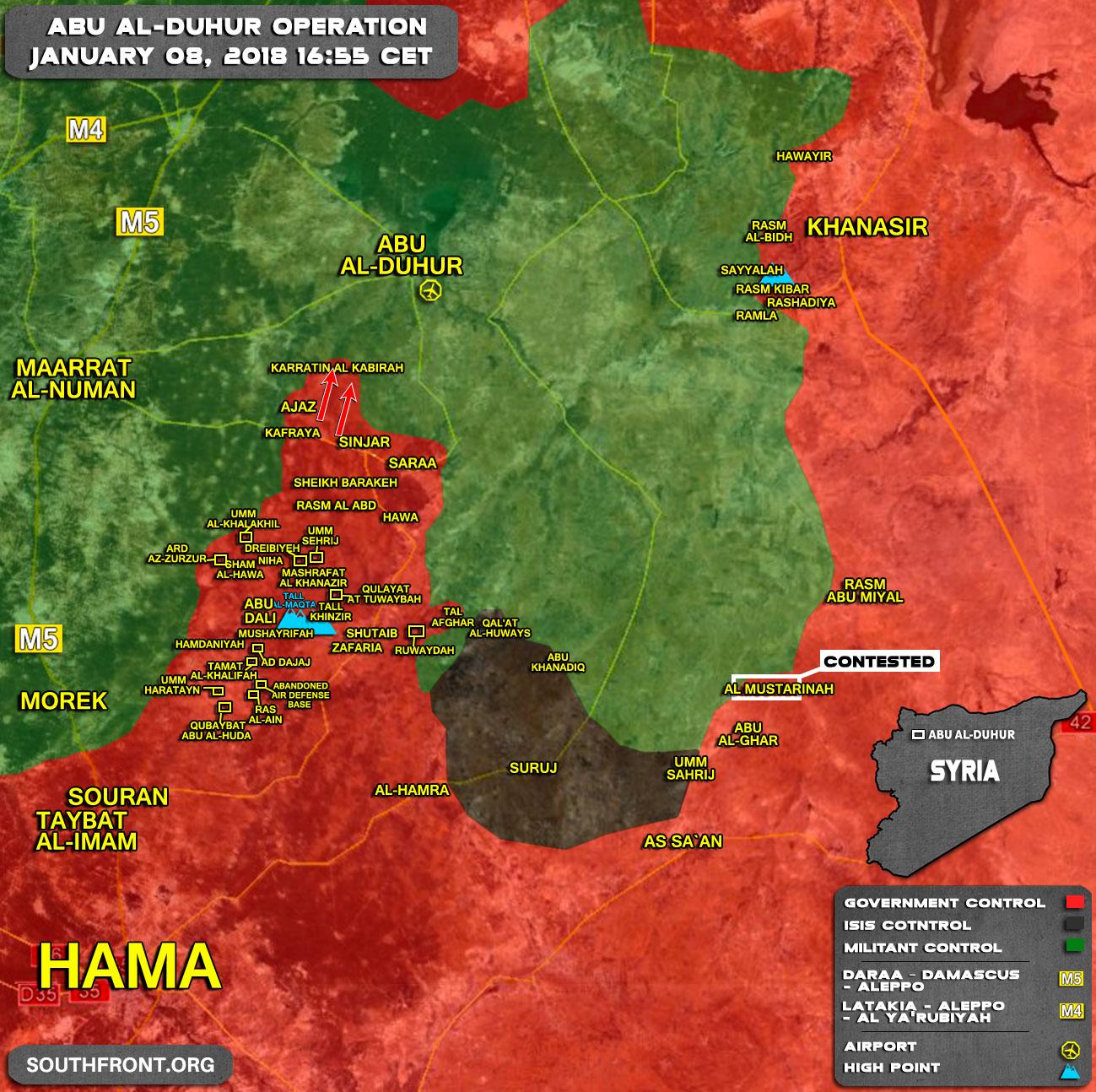 Карта наступательной операции на юге Идлиба на вечер 08 01 2018