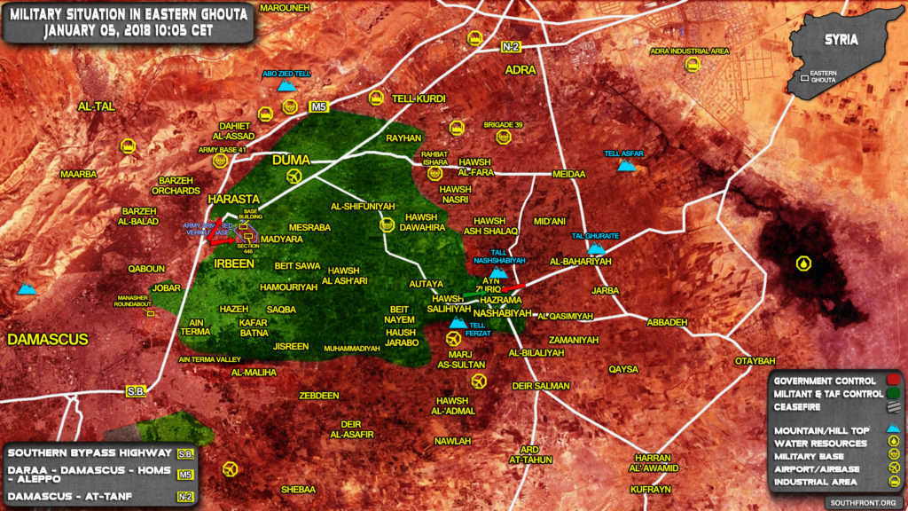 Military Situation In Damascus' Eastern Ghouta On January 5, 2017 (Syria Map Update)
