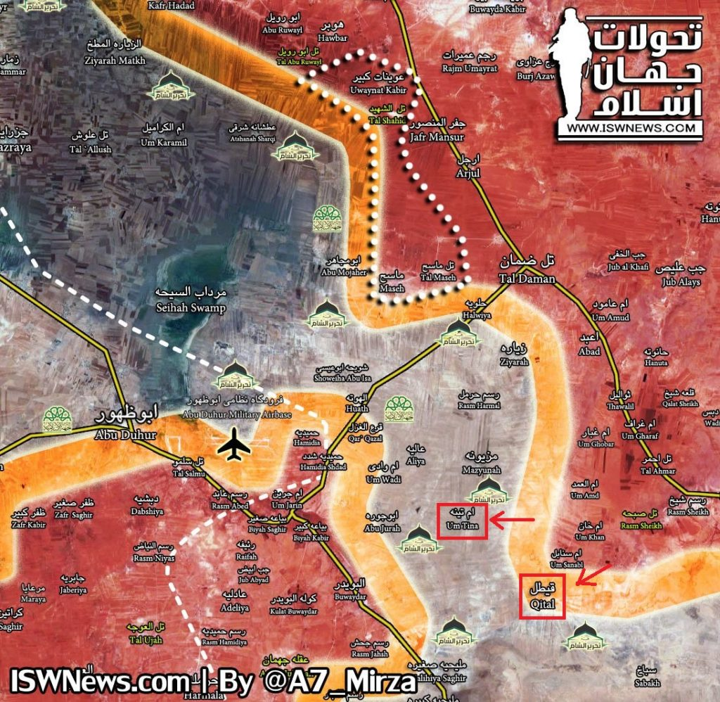 Army Troops Liberated Um Tina In Southern Aleppo (Map)