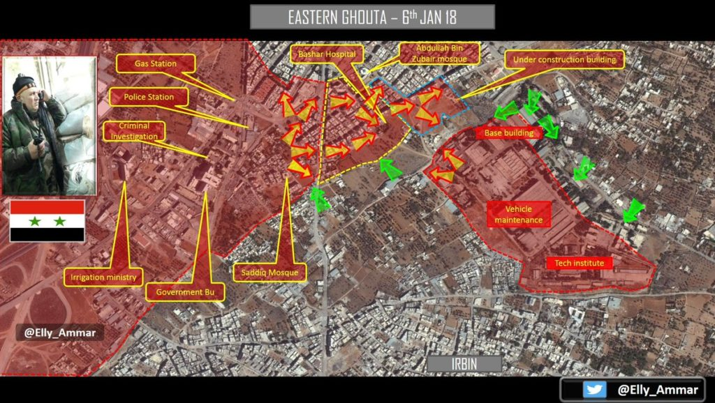 Map Update: Military Situation In Armoured Vehicles Base Area In Eastern Ghouta