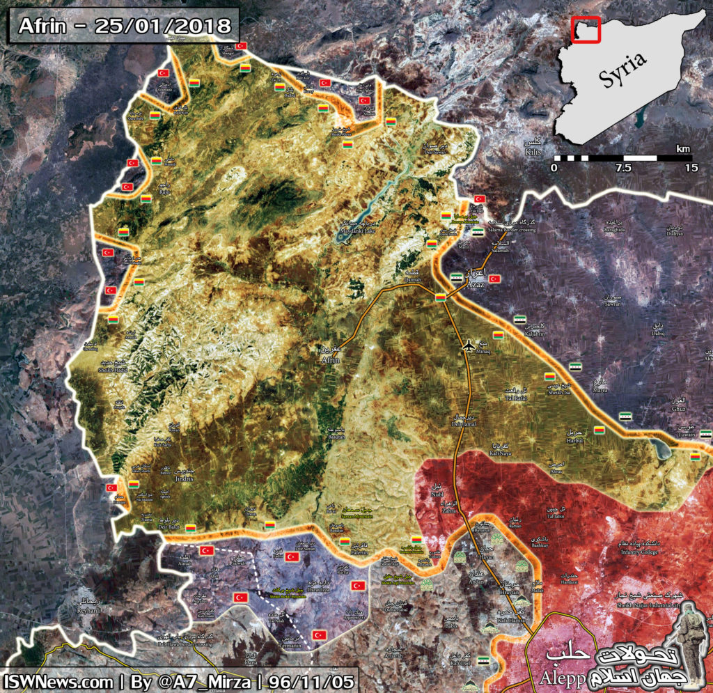 Military Situation In Syria's Afrin On January 25, 2018 (Map Update)