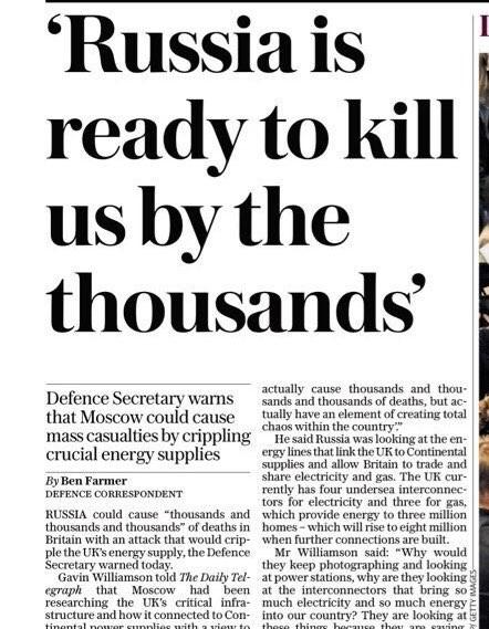 """UK Defense Secretary: """"Russia Is Ready To Kill Us By The Thousands"""""""