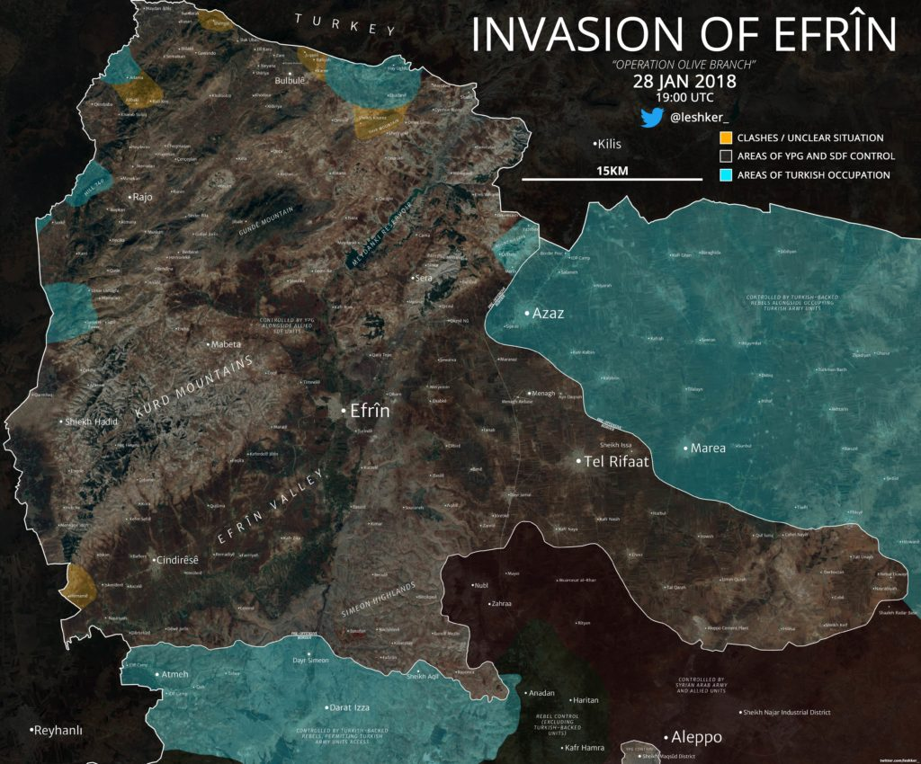 Turkish General Staff Says 73 'Terorrists' Were Neutralized In Syria's Afrin On January 28