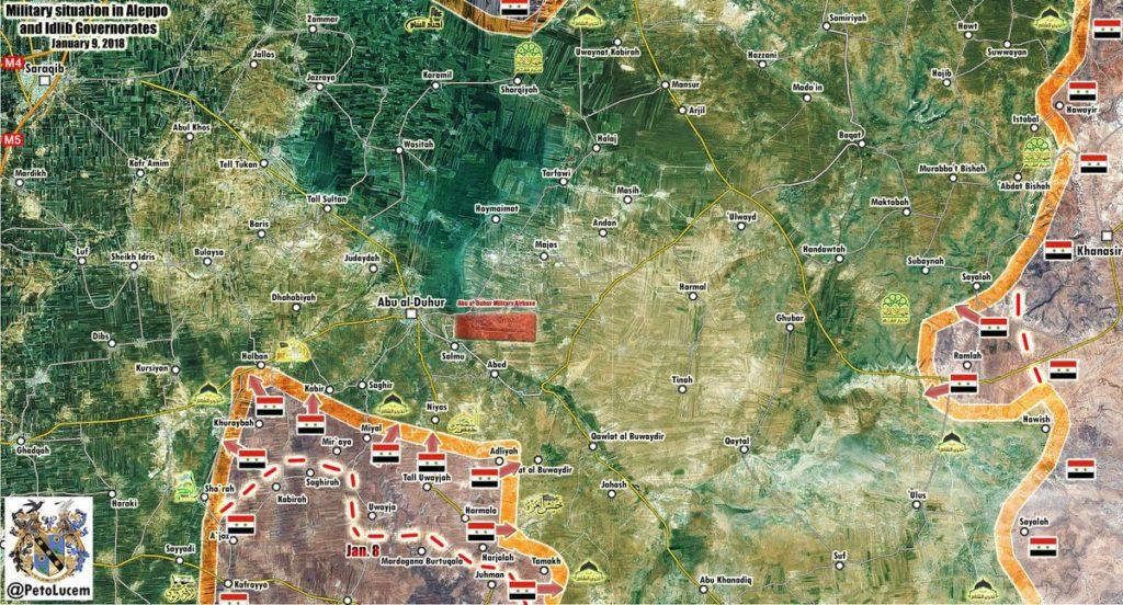 Government Troops Establish Fire Control Over Maarat al-Nouman - Abu al-Duhur Road (Map)