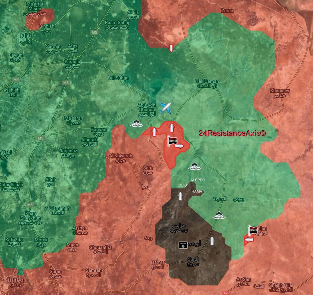 Map Update: Militants Flee Area South Of Abu al-Duhur Airbase Following Syrian Army Advance