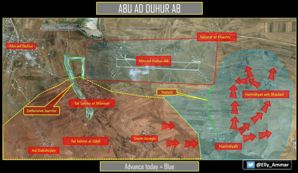 Tiger Forces Isolating Abu al-Duhur Airbase From Eastern Flank (Map)