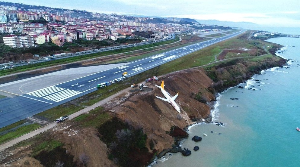 Turkish Plane Nearly Crashes Into Black Sea After Skidding Off Runway (Videos, Photos)