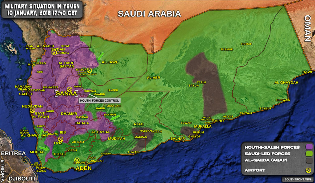 Military Situation In Yemen On January 10, 2018 (Map Update)