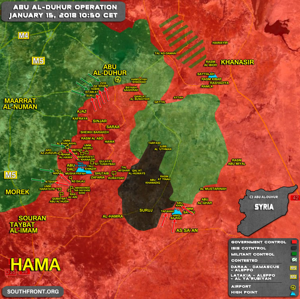 Military Situation In Area Of Abu al-Duhur On January 15, 2018 (Map)