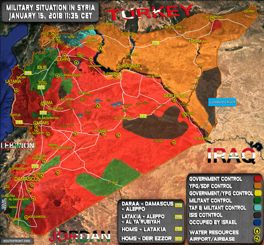 Military Situation In Syria On January 15, 2018 (Map Update)