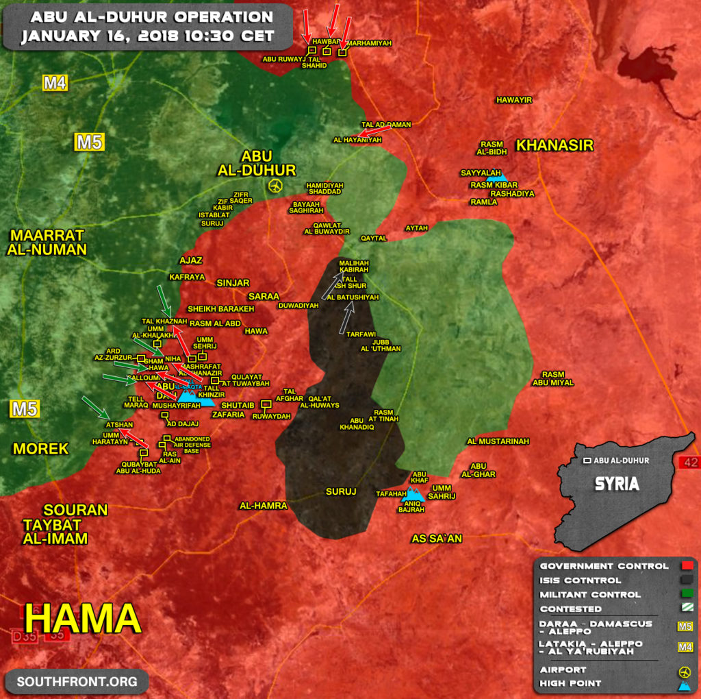Military Situation In Abu Al-Duhur Area On January 16, 2018 (Syria Map Update)