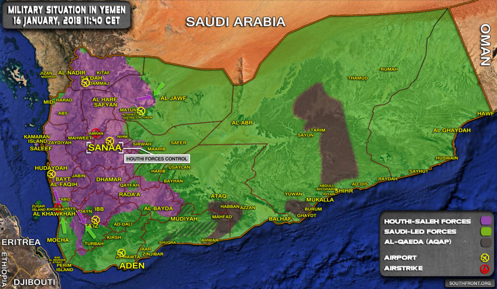 Military Situation In Yemen On January 16, 2018 (Map Update)