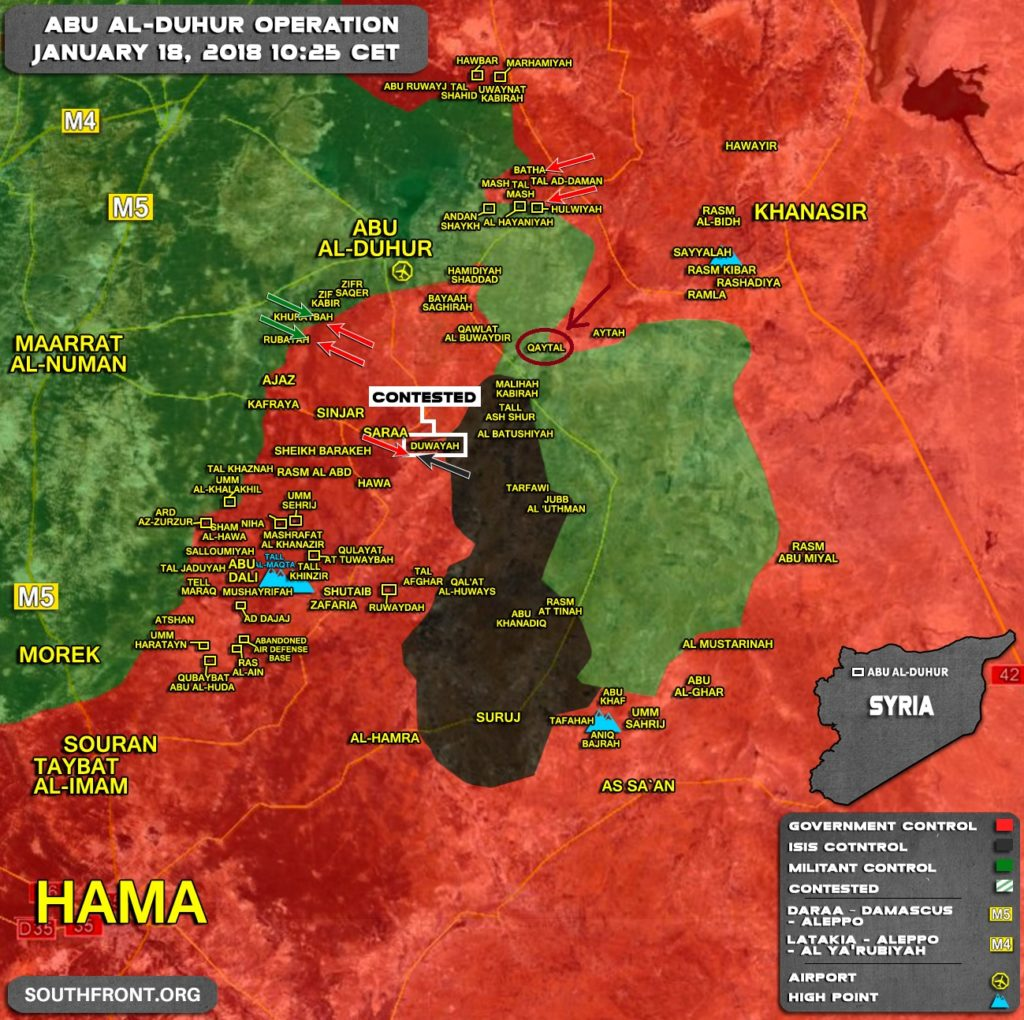 Government Forces Liberate Qaytal From Hayat Tahrir al-Sham Southeast Of Abu Al-Duhur (Map)