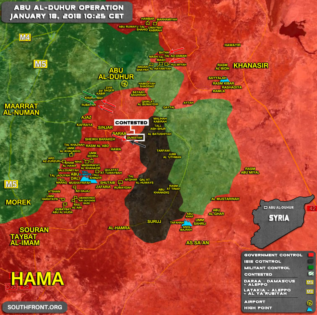 Military Situation In Abu al-Duhur Area On January 18, 2018 (Syria Map Update)