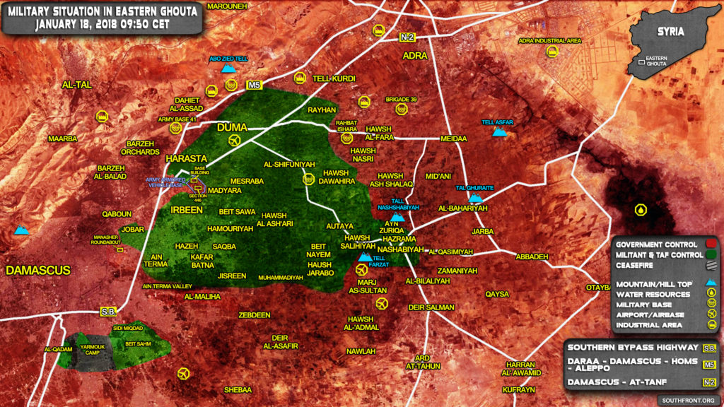 Military Situation In Damascus' Eastern Ghouta On January 18, 2018 (Syria Map Update)