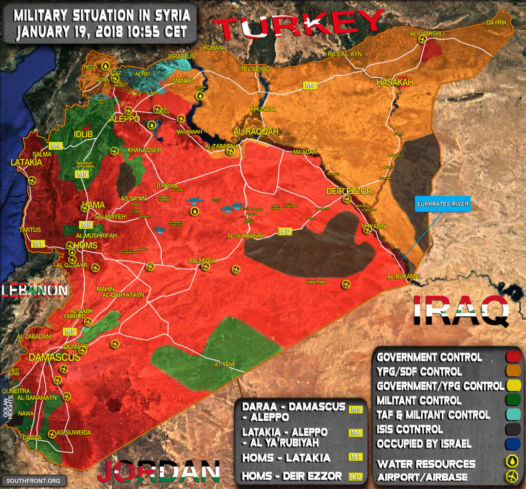 Military Situation In Syria On January 19, 2018 (Map Update)