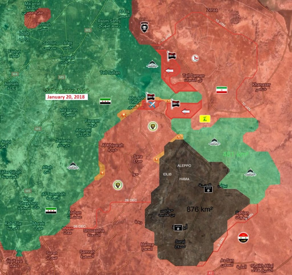 Map Comparison: Military Situation In Area Of Abu al-Duhur On January 1 And January 20, 2018