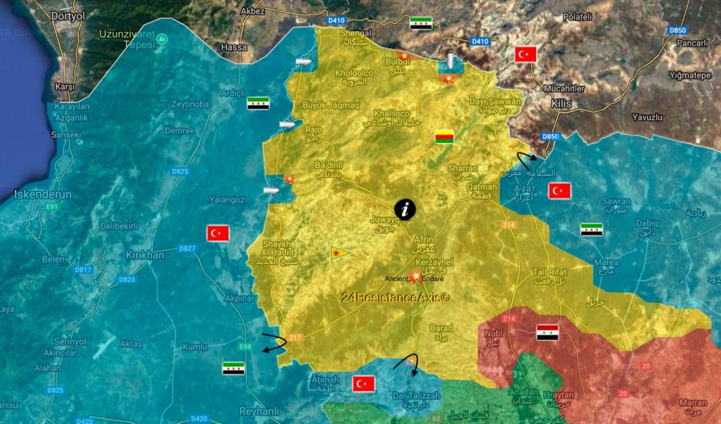 Maps: Turkish Forcces Advadnce On YPG/YJP In Syria's Afrin