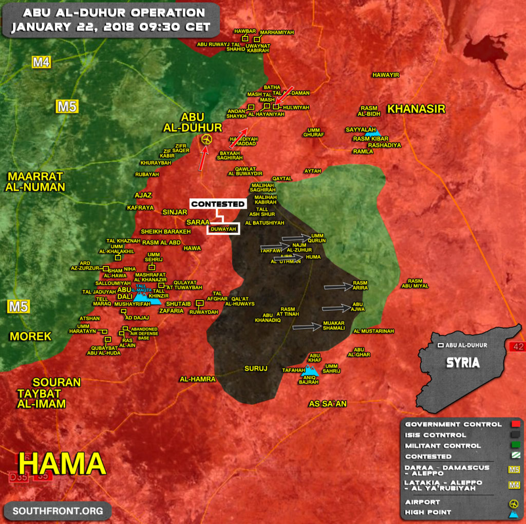 Military Situation In Syria's Abu al-Duhur Area On January 22, 2018 (Map Update)