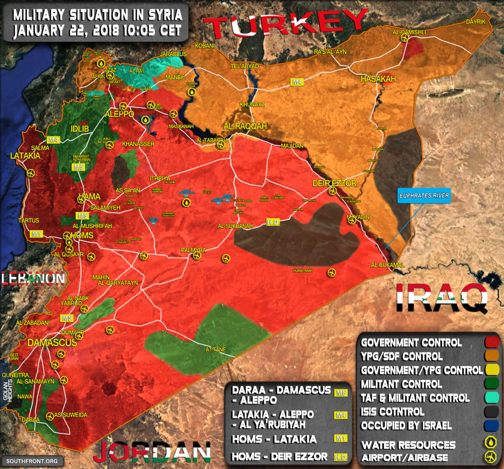 Military  Situation In Syrian On January 22, 2018 (Map Update)
