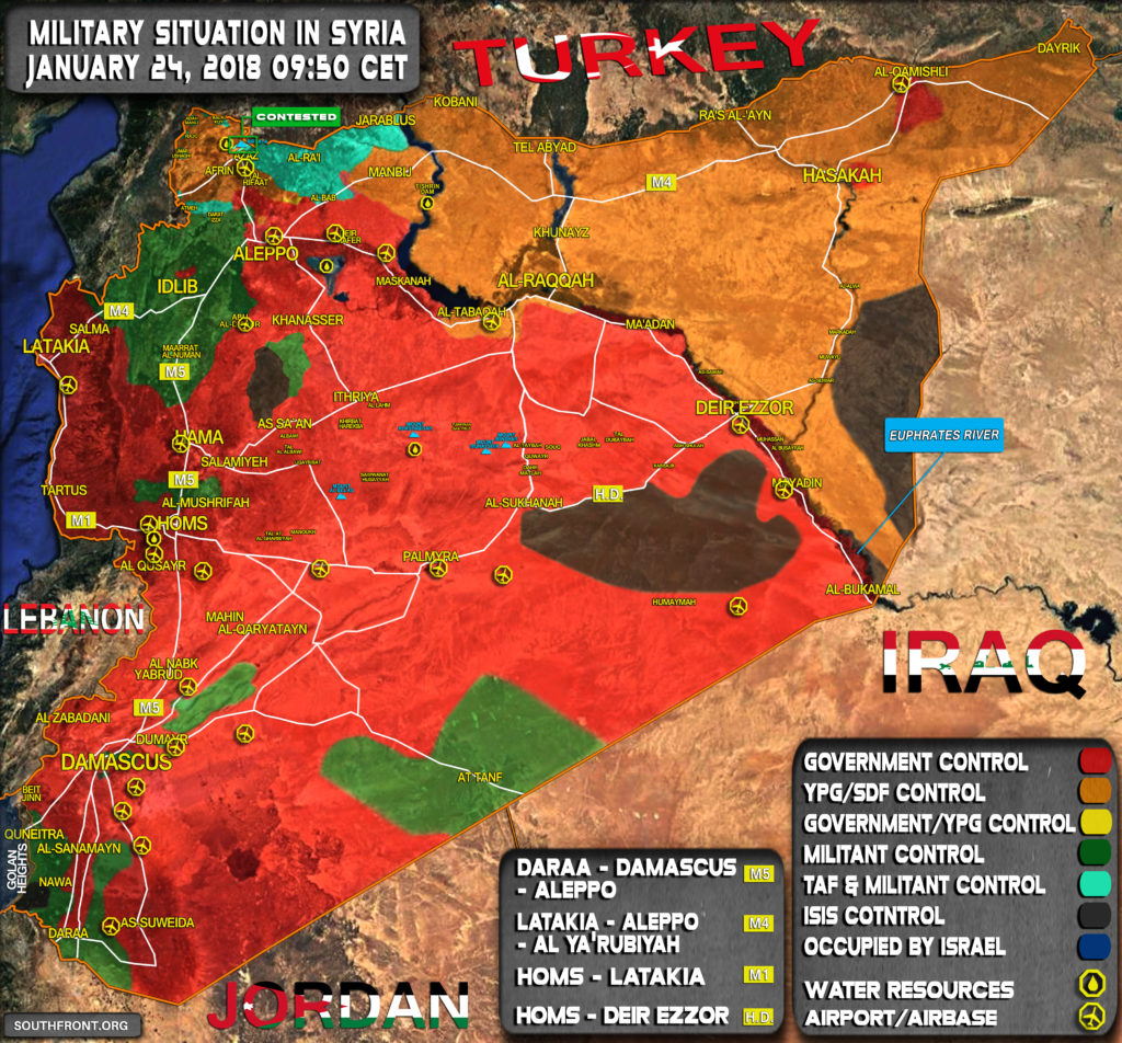 Military Situation In Syria On January 24, 2018 (Map Update)