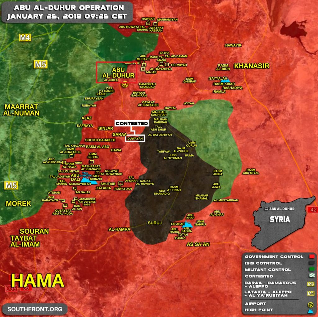 Government Forces Secured Abu al-Duhur Town In Eastern Idlib (Map)