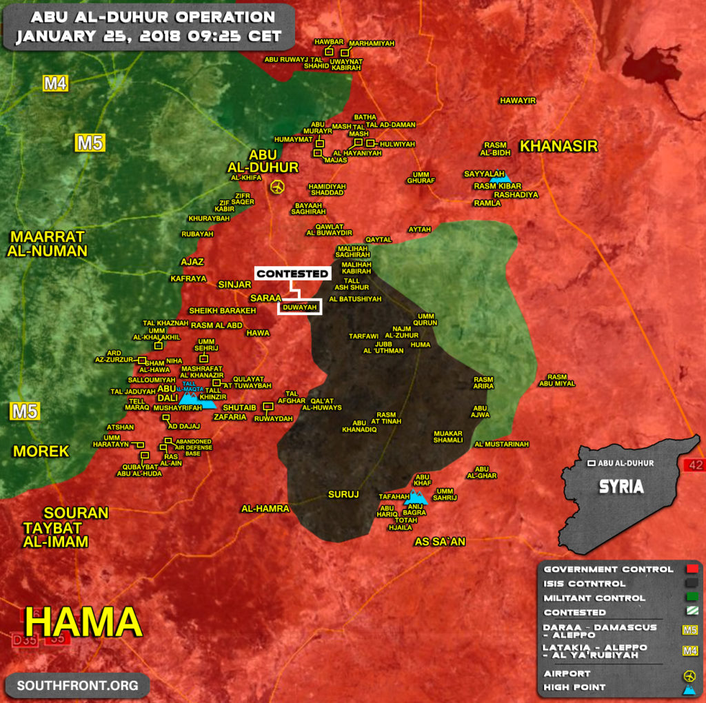 Military Situation In Syria's Abu al-Duhur Area On January 25, 2018 (Map Update)