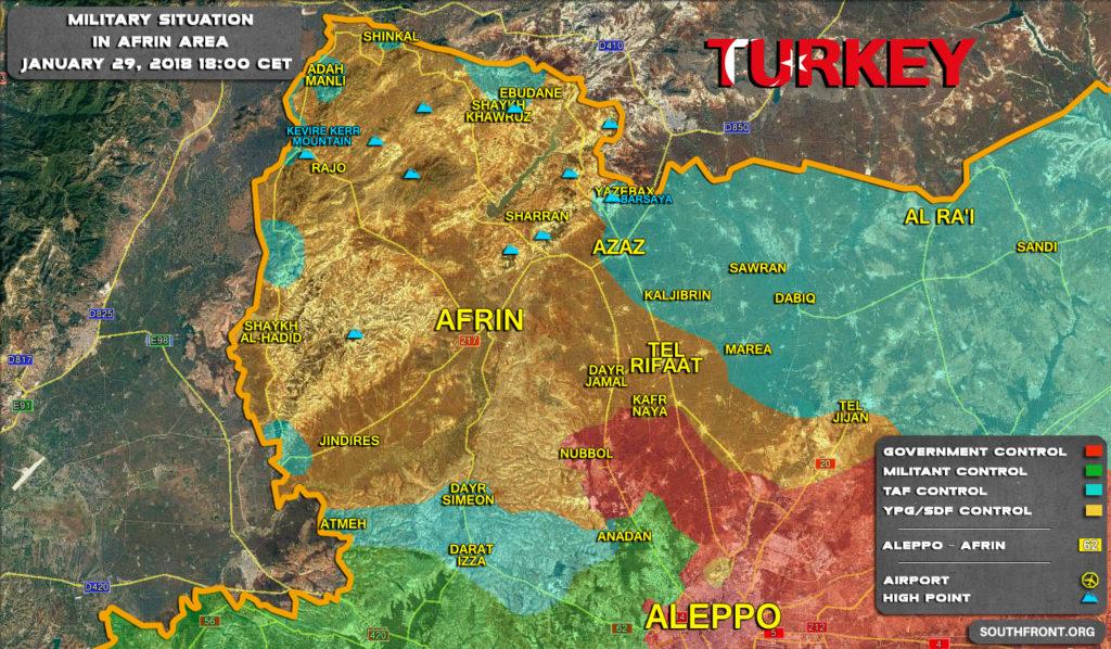 Map Update: Progress Of Turkey's Operation Olive Branch