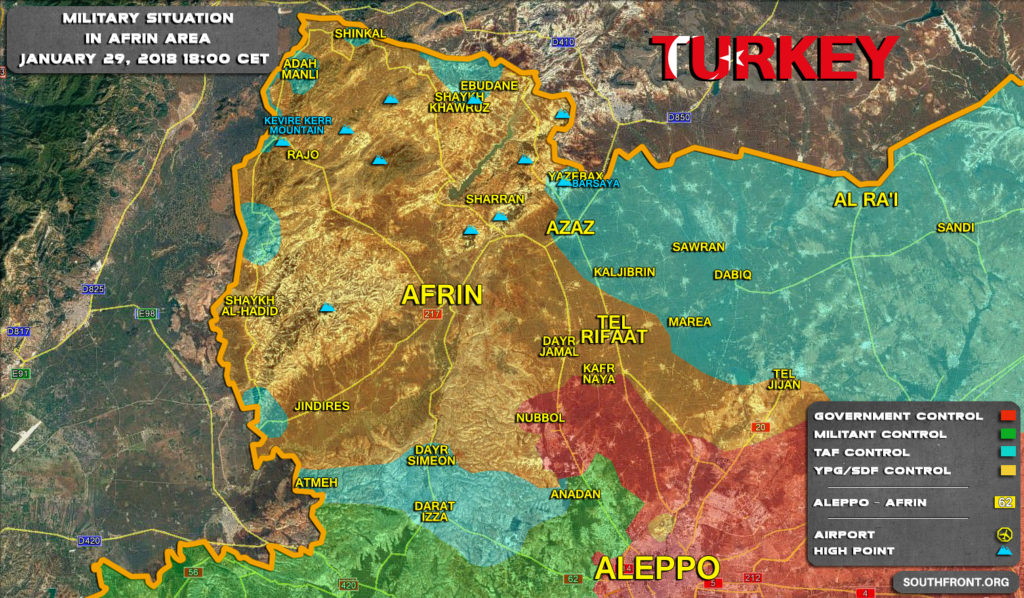 Map Update: Progress Of Turkey's Operation Olive Branch