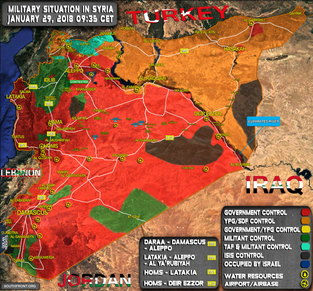 Military Situation In Syria On January 29, 2018 (Map Update)