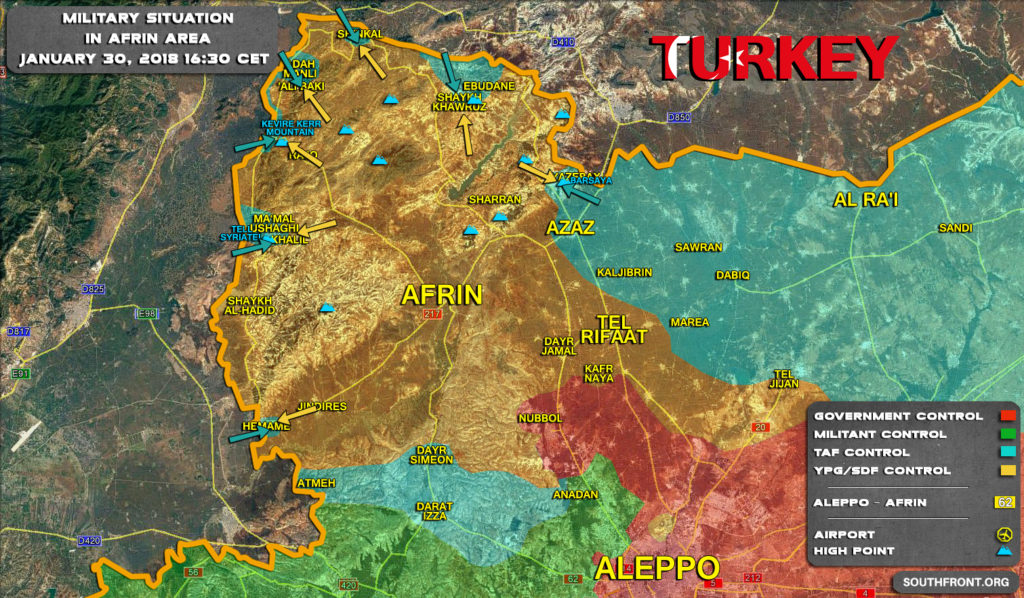 Military Situation In Syria's Afrin Area On January 30, 2018 (Map Update)