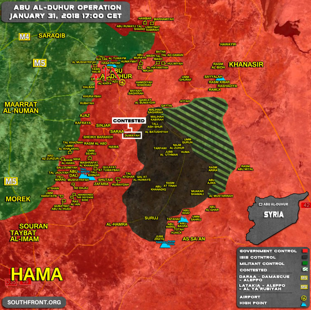 Map Update: Military Situation In Abu al-Duhur Area Following Major Advance By Syrian Army