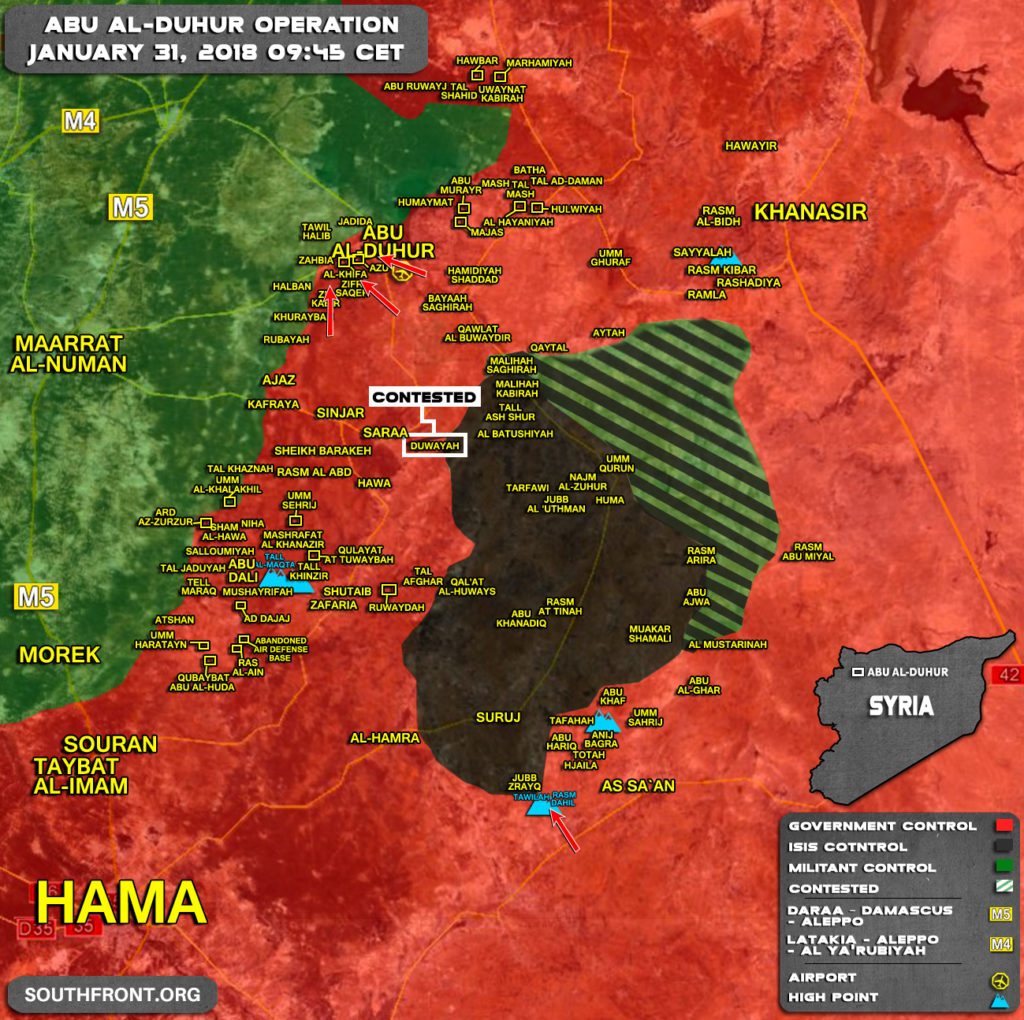 Military Situation In Abu al-Duhur Area On January 31, 2018 (Map Update)