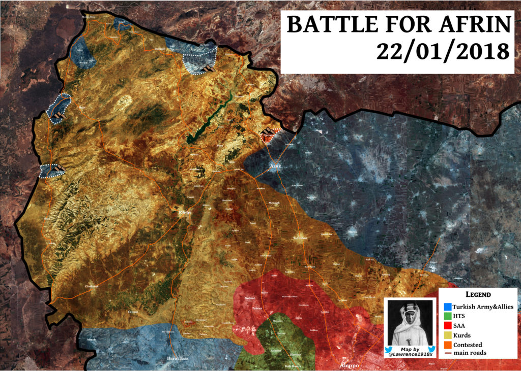 Map Update: Results Of Third Day Of Turkey's Operation Olive Branch