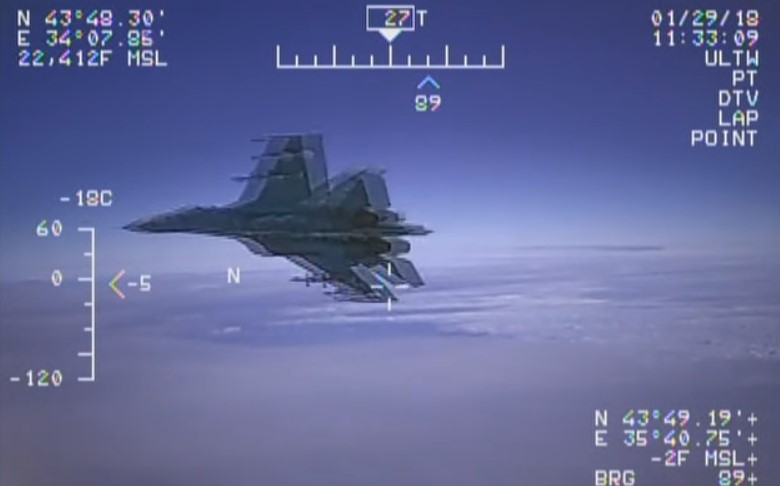US Military Releases Video Of Russian Su-27 Fighter Jet Intercepting US Navy EP-3 ARIES II Spy Plane