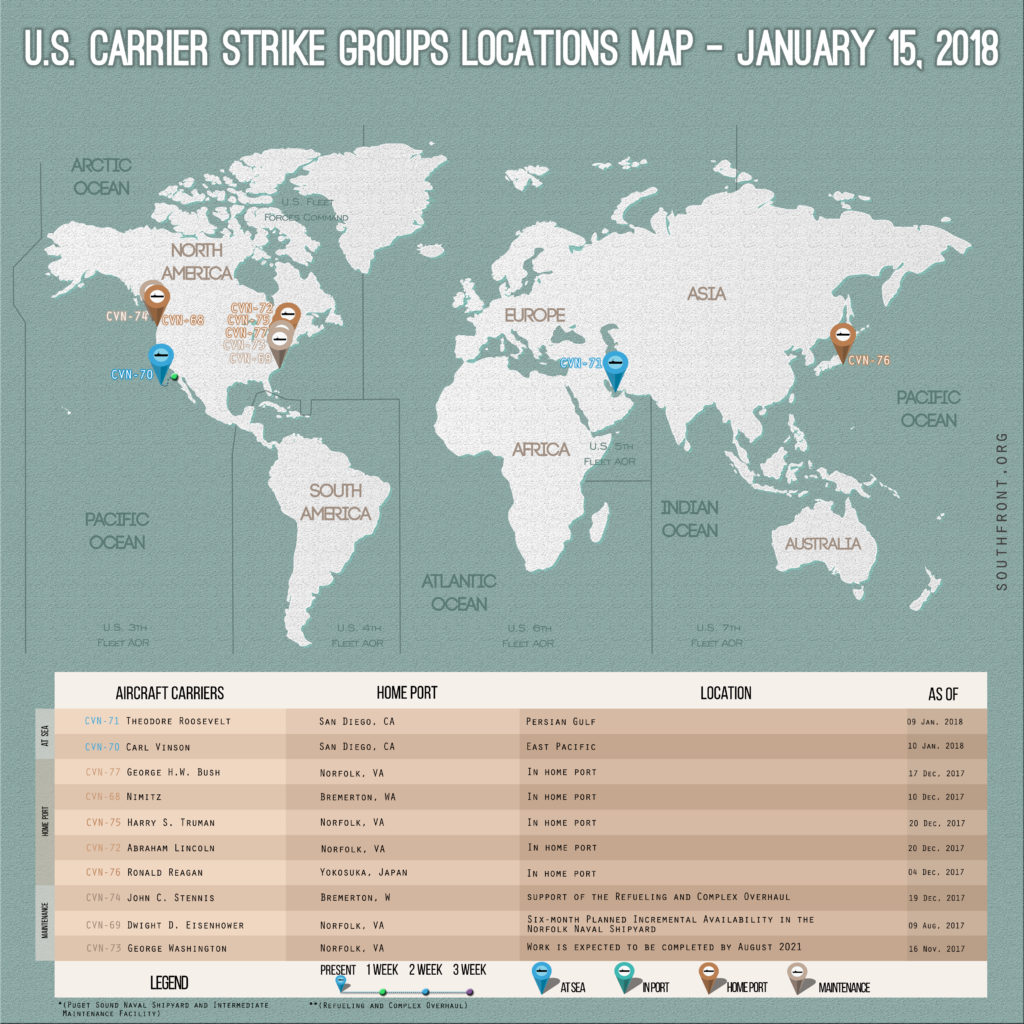 US Carrier Strike Groups Locations Map January 15, 2018