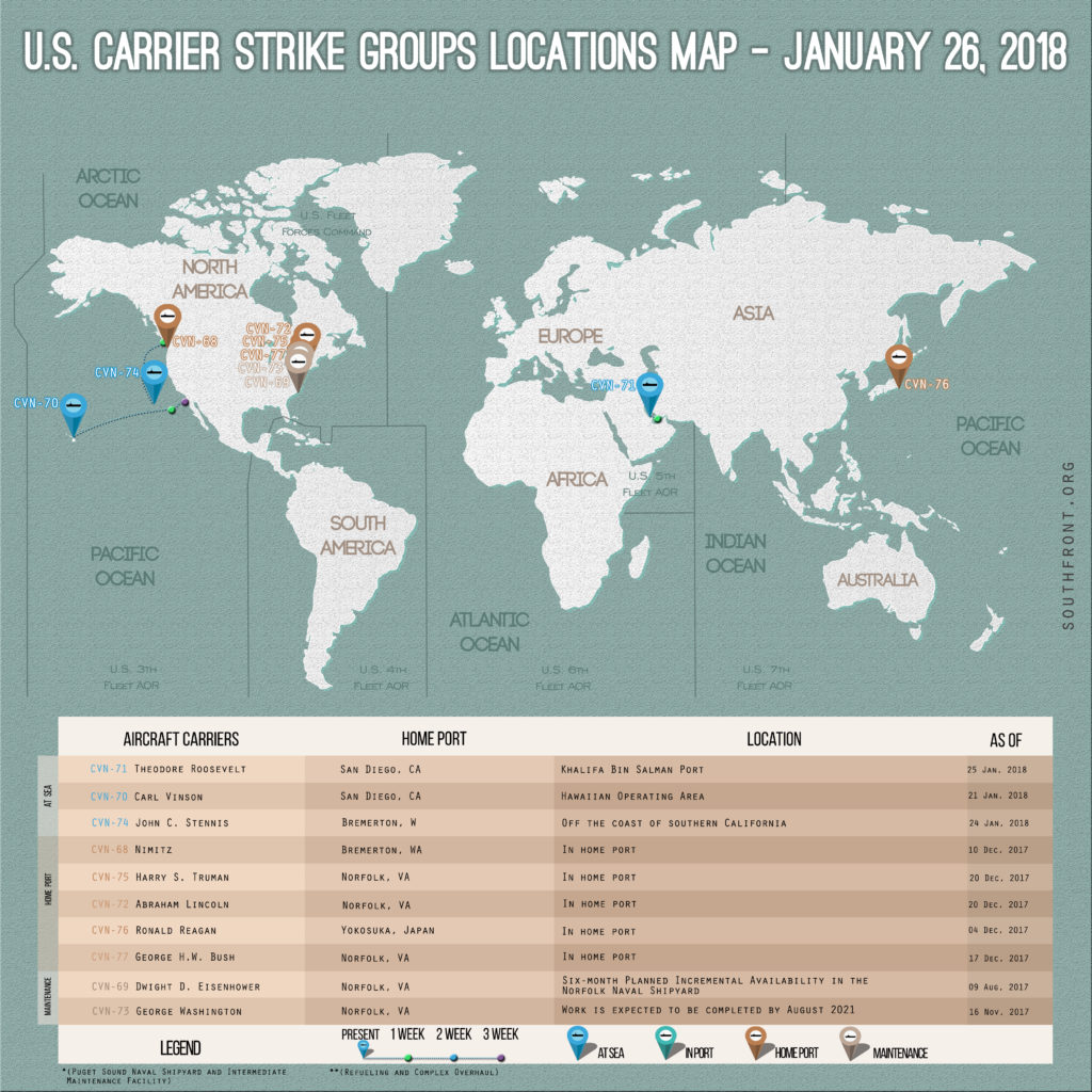 US Carrier Strike Groups Locations Map January 26, 2018