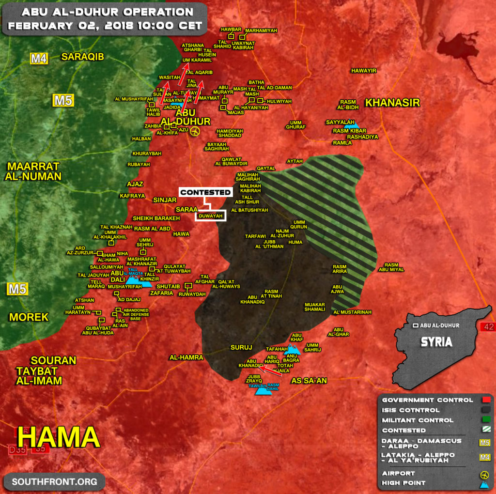 Military Situation In Abu al-Duhur Area On February 2, 2018 (Map Update)