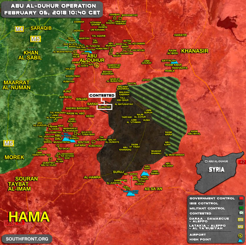 Military Situation In Abu al-Duhur Area On February 5, 2018 (Syria Map Update)